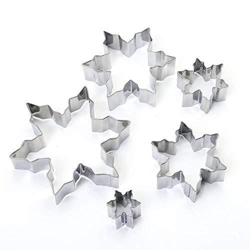 HelpCuisine® Schneeflocke Ausstechformen-Set 5-teilig aus rostfreiem Edelstahl leichtes, präzises Ausstechen sichere, angenehme Handhabung (Sternförmige).