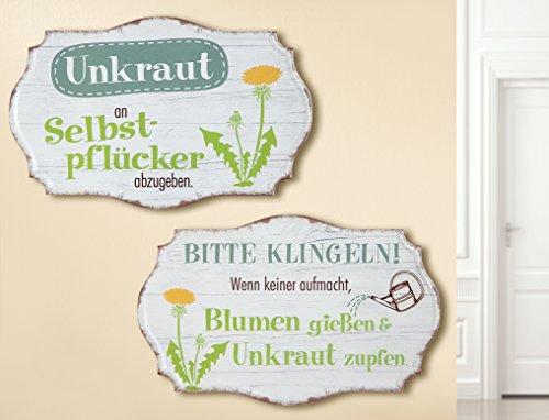 1 x Schild Weisheit Garten Breite 30 cm Spruch: Unkraut an Selbstpflücker abzugeben