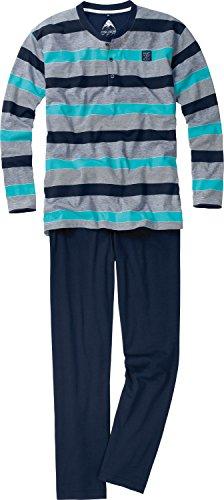 Ceceba Herren Pyjama, 3-Knopfv, offen Zweiteiliger Schlafanzug, Blau (navy blaze 8435), Large (Herstellergröße: 52)