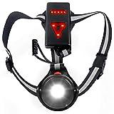 QcoQce Luce Corsa Ricaricabile USB, Impermeabile Night Running Lampada Light LED con 3 modalità per Jogging, Camminare, Campeggio, Pesca