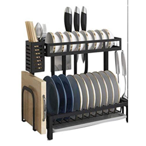 ZUQIEE Estante de cocina escurridor, fácil de montar y limpiar, estante de acero inoxidable para platos de cocina, color negro, inoxidable, ideal para platos (color: negro, tamaño: 23,5 x 39 x 39 cm)