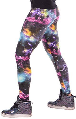 Revolver Fashion Colorful Meggings Herren Leggings, USA hergestellt, Spaß für Baselayer, Yoga oder Burning Man Rainbow - mehrfarbig - Large (34/36 Taille)