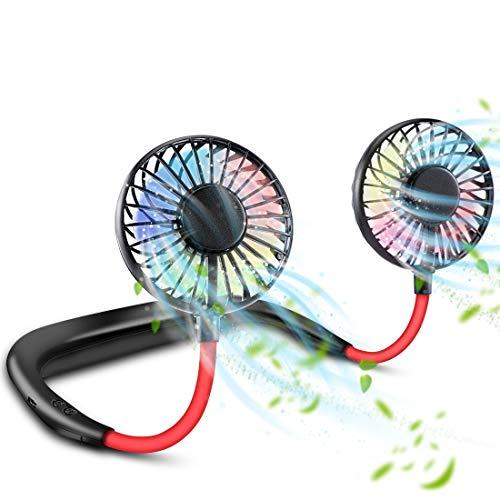 U-miss 首掛け扇風機 ネックファン 携帯 ポータブル 扇風機 USB充電式 3段階風力調節 360°角度調整 ハンズフリー 小型 静音 コンパクト アウトドア 【一年間保証付き】