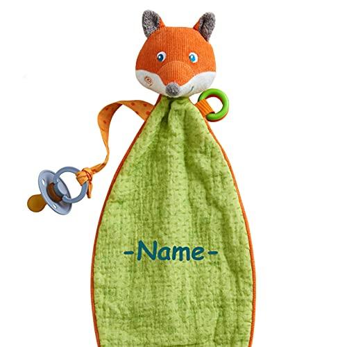 Haba Schmusetuch individuell bestickt mit Name, Schnuffeltuch für Babys mit Namen, Kuscheltuch für Junge und Mädchen ab 0 Jahre