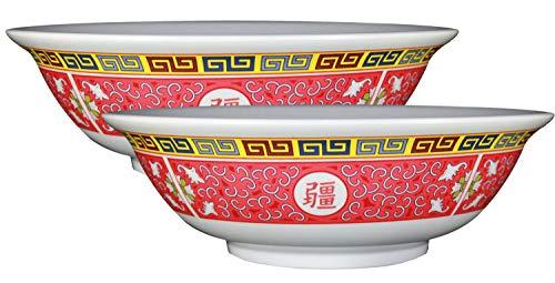 Happy Sales Longevity Design Melamine Oriental Pho Noodle Soup Bowl (Set of 2), 36 oz, Multicolor