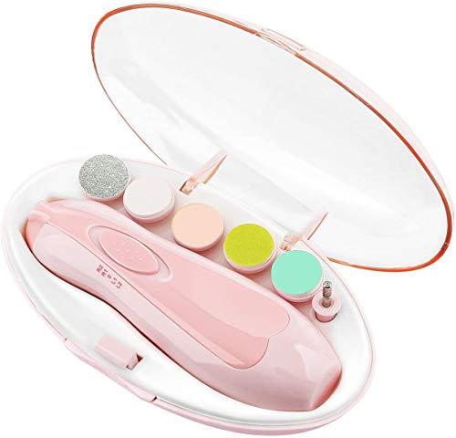Elektrische Baby Nagelfeile Pediküre Nagelpflege Set Nagelfeile mit LED- Licht für Babys, Erwachsene, gesund Sicher, Verhindern Sie dass das Baby kratzt (Batterien NICHT inklusive) (Pink)