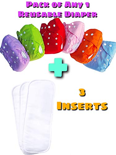 The Little Lookers™ Premium Quality Adjustable & Reusable Baby Washable Cloth Diaper with 3 Wet-Free Inserts for Babies/Infants/Toddlers |Age 0 to 2 Years|1 Reusable Diaper (Random Color) + 3 Inserts