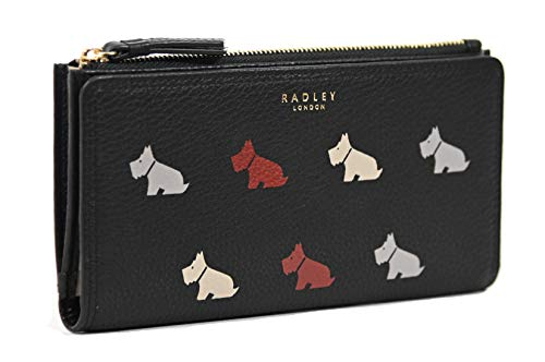 RADLEY Large Zip Around Matinee Purse Multi Dog in Black Leather RRP £89.00