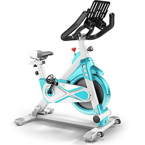 Yuefensu Bicicleta de ejercicio para interiores y deportes con soporte para tablet y ordenador, bicicleta giratoria silenciosa para el hogar (color: verde, tamaño: 103 – 119 x 56 x 110 cm)
