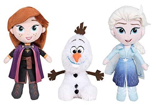 Famosa Softies Set 3 Peluche 25cm Olaf Elsa Anna 25cm Frozen 2 - Original Disney - Multicolor