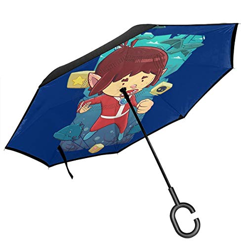 Alex Kidd in Miracle World Paraguas invertido de Doble Capa para el...