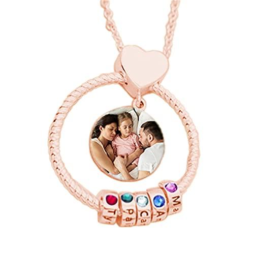 Collar Personalizado Para Mujer Collar Con Foto Personalizado Grabado 1-8 Collar Con Nombre Con Piedra De Nacimiento(Oro rosa 18)
