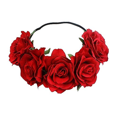 Tvoip Rose Floral Crown Garland Flower Headband Headpiece for Wedding Festival (Red)