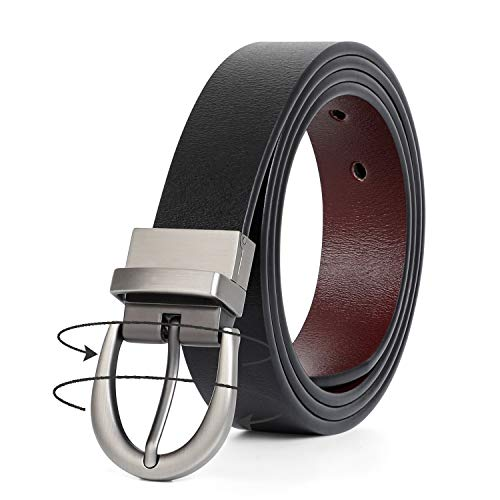"""Women Leather Belt, Reversible Belt, Leather Waist Belt for Jeans Dress with Gold Double O Ring Rotate Buckle by JASGOOD (F-Black/Coffee, Suit Pant Size 42""""-45"""") …"""