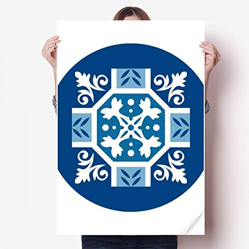 DIYthinker Marokko Abstract Decoratief Blauw Patroon Vinyl Muursticker Poster Fotobehang Kamer Decal 80X55Cm