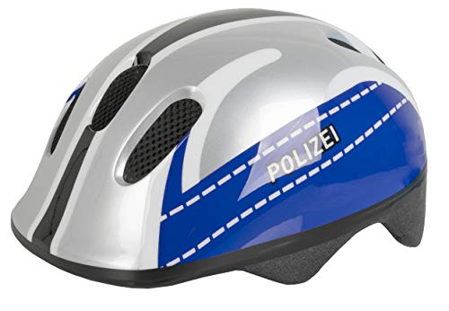 M-Wave Kinder Fahrradhelm Polizei, Farbe: Silber/Blau, 52-57 cm (731042)