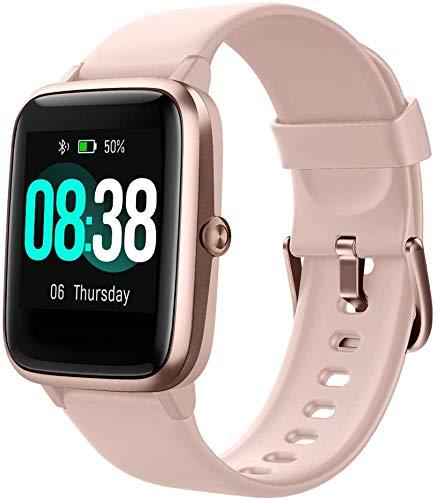 Smartwatch, Fitness Armband Tracker Voller Touch Screen Uhr IP68 Wasserdicht Armbanduhr Smart Watch mit Schrittzähler Pulsmesser Stoppuhr für Damen Kinder Sportuhr für iOS Android (Rosa)