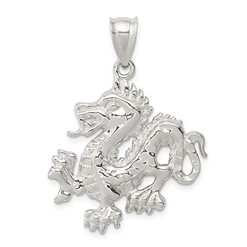 Saris and Things 925 sterlingsilber poliert und texturiert Chinese Dragon anhänger Shaped
