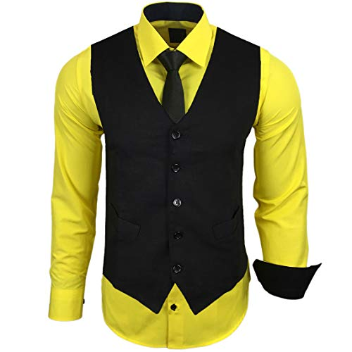 Rusty Neal Herren Hemd mit Weste Krawatte Anzugs Sakko Business Hochzeit Freizeit Hemden Set wählbar RN-44-HWK, Größe:L, Farbe:Gelb