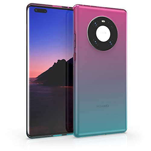 kwmobile Hülle kompatibel mit Huawei Mate 40 Pro - Hülle Handy - Handyhülle Zwei Farben Pink Blau Transparent