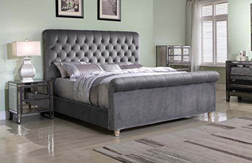 Best Master Furniture Jean-Carrie Upholstered Sleigh Bed King Grey