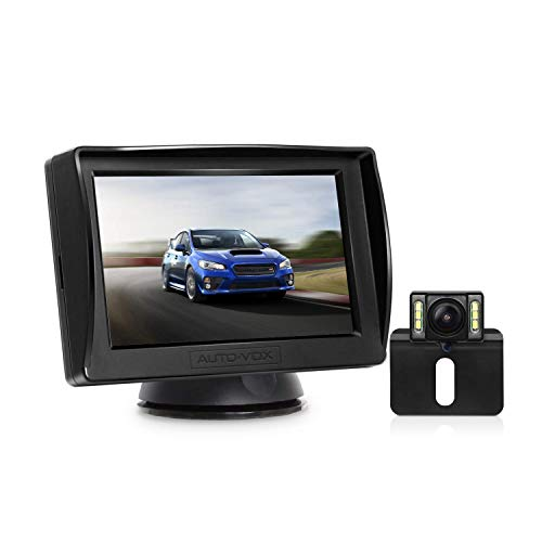 AUTO-VOX M1PRO Rückfahrkamera Set mit 4,3\'\' TFT LCD Monitor, IP68 wasserdichte Rückfahrkamera mit Nachtsicht, 165° Weitwinkel, Rückfahrkamera Kabel mit Stabiler Signalübertragung (Upgrade)