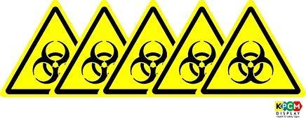 Iso Safety Label Sign - Señal de advertencia de peligro biológico, autoadhesiva, 50 x 50 mm, 5 unidades