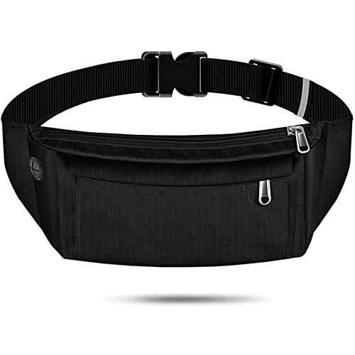 Black Fanny Pack for Men Women Water Resistant Waist Pack Bag for Running Hiking Traveling