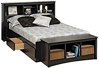 BOWERY HILL Full Bookcase Platform Storage Bed in Black