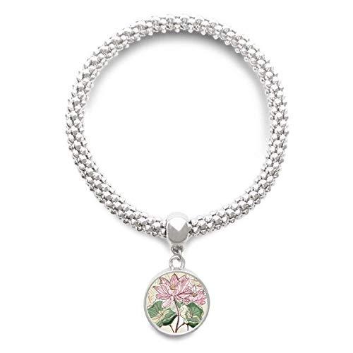 DIYthinker Womens Lotus Bloem Lotus Wortel Aquarel Plant Sliver Armband Ronde Hanger Sieraden Ketting