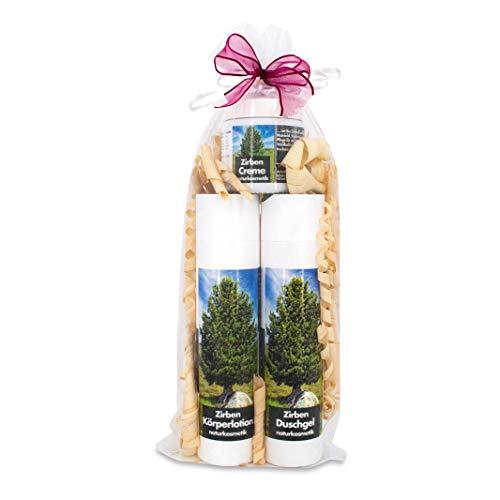 sagl.tirol Geschenkset Naturkosmetik 3-teilig Zirben Creme, Zirben Duschgel, Zirben Körperlotion