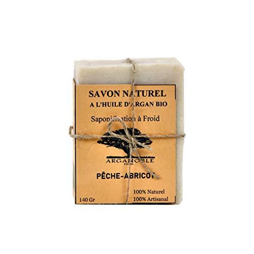 Savon 100% naturel à l'huile d'Argan Bio - Pêche-Abricot. Garanti sans huile de palme, sans parabens, sans parfums de synthèse, sans colorants, sans conservateurs synthétiques.