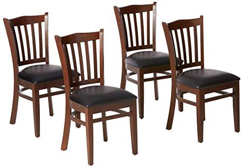 Flash Furniture 4 Pack HERCULES Series Vertical Slat Back Mahogany Wood Restaurant Chair - Black Vinyl Seat