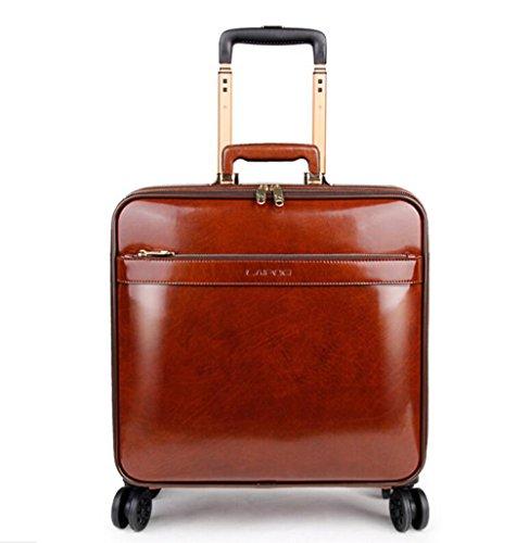 Preisvergleich Produktbild PINCHU Trolley-Laptop-Tasche Aus Echtem Leder Business Fahrbare Kabine Größe Computer Tasche Aktentasche Weitermachen Roller-Fällen