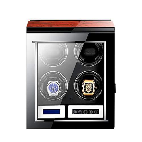 Automatische Quad Watch Winder met stille Mabuchi Motor en LCD Digitaal Display voor 4 Horloges Afstandsbediening