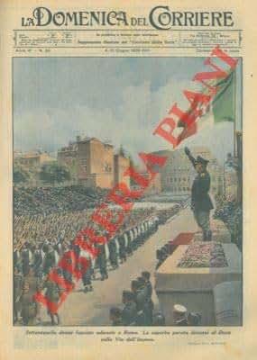Settantamila donne fasciste adunate a Roma. La superba parata dinanzi al Duce sulla Via dell'Impero.