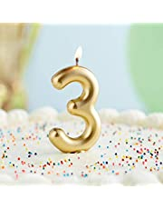 Creative Converting Numeric Birthday Candle #3, Gold