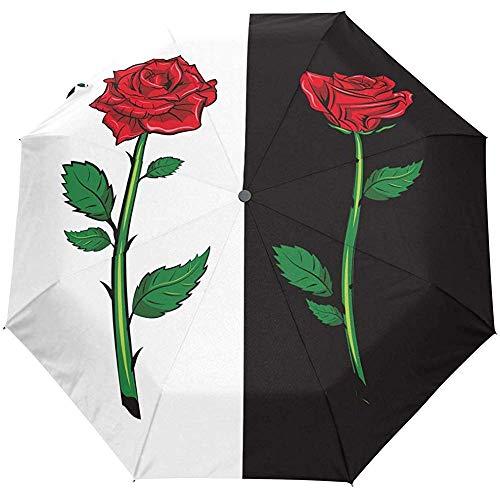 Rosa roja sobre Fondo Negro Paraguas de Viaje Auto Abrir Cerrar Paraguas...