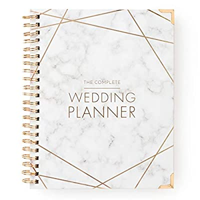 [New] Wedding Planner Marble Gold - Undated Bridal Planning Diary Organizer - Hard Cover, Pockets & Online Support