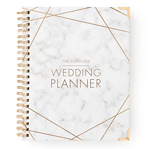 Wedding Planner Marble Gold - Undated Bridal Planning Diary Organizer - Hard Cover, Pockets & Online Support