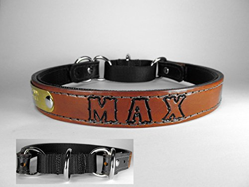 Haigler and Wallace Personalized Standard Size Martingale Light Brown Leather Dog Collar