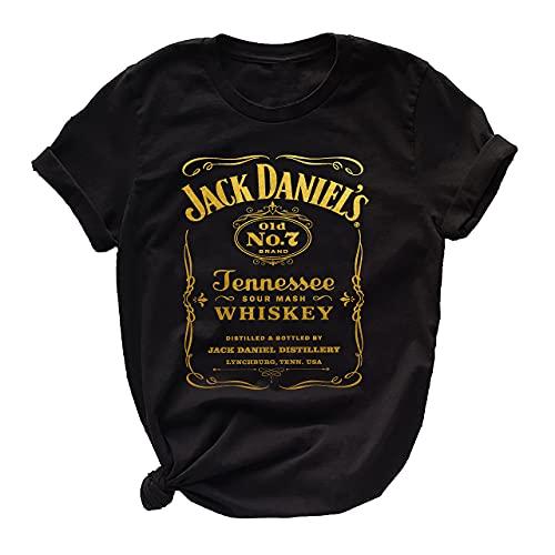 Women Jack Vintage Whiskey Shirt - Womens Gold Graphic Daniels Label Casual Black T Shirt (XL)