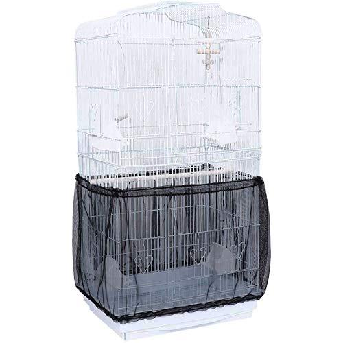 Gabbia per Uccelli Seed Catcher Protezione per pappagalli Rete in Nylon Copertura a Rete Guscio Elastico Gonna Morbida e ariosa Trappole Gabbia per cesti,antipolvere, per gabbia per uccelli(L, Nero)