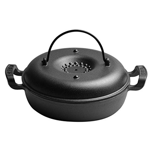 GTYT Not-Stick Skillet,Cast Iron Roaster Pan with Lid,Covered Casserole,Multi-Purpose Frying Pan for Roasts Chicken Vegetables Sweet Potato Corn Cooking Pot A Diameter26cm(10inch)