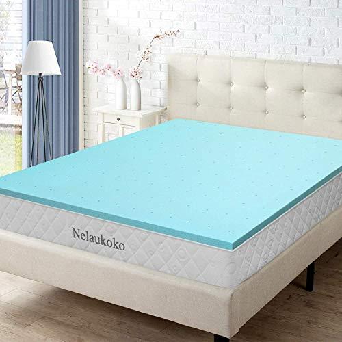 Nelaukoko 3 Inch King Size Memory Foam Mattress Topper King Mattress Foam Pad, Ventilated Gel Bed Topper King