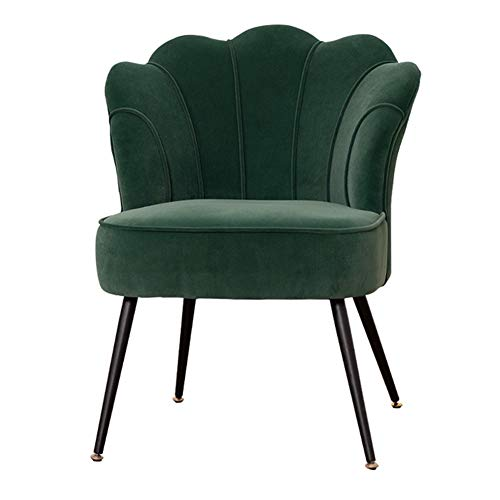HUAYIN Velvet Living Room Armchair, Mid Century Single Sofa with Metal Bracket Petal Shape High-Back Club Chair for Home/Office Upholstered Arm Chair,a~Green