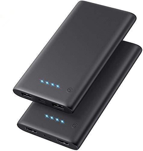 QTshine Power Bank 2 Pack,Ultra Sottile Caricabatterie Portatile,10000mAh Mini Caricatore Portatile 2 USB Uscite Porte per Cellulare,Batteria Esterna per iPhone, iPad, Samsung, Huawei,Tablet