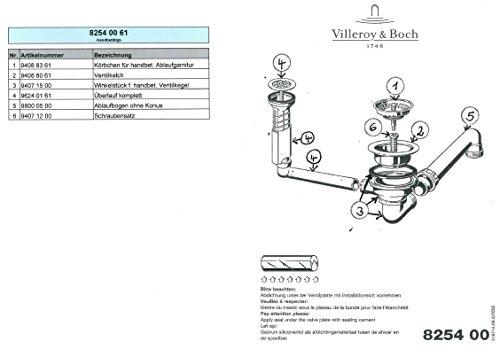 Ab- und Überlaufgarnitur für Villeroy und Boch Eckspüle mit Handbetätigung / Ersatzteil / Überlaufventil / Ablauf