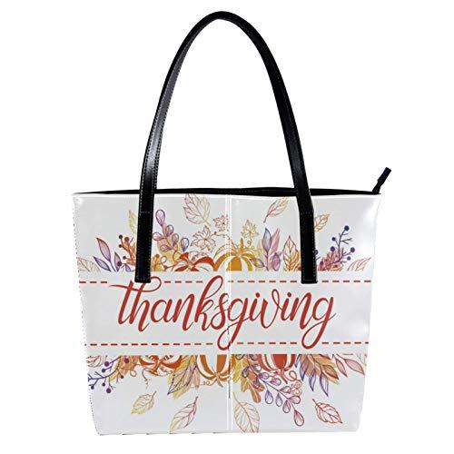 Danksagungskarte mit Blumen Damen PU Leder Mode Handtasche Top-Griff Schultertaschen Totes Geldbörsen
