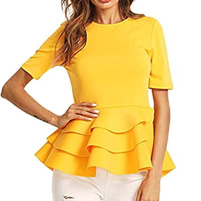 RAINED-Women's Tank Tops Vintage Layered Slim Fit Round Neck Peplum Blouse Ruffle Hem Crewneck Shirt Elegant Clubwear